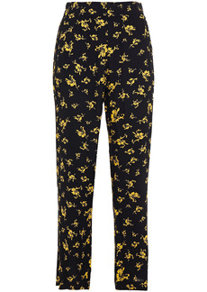 Ganni Woman Floral-print Crepe Straight-leg Pants Black