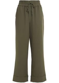 Ganni Woman Gathered Crepe Wide-leg Pants Army Green