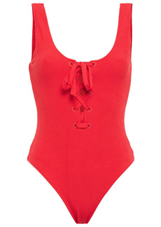 Ganni Woman Lace-up Stretch-seersucker Swimsuit Tomato Red