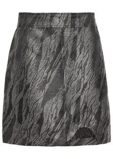 Ganni Woman Metallic Jacquard Mini Skirt Gunmetal
