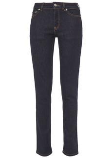 Ganni Woman Mid-rise Slim-leg Jeans Dark Denim