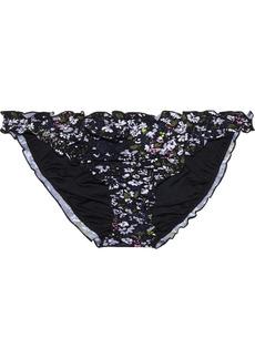 Ganni Woman Ruffled Floral-print Low-rise Bikini Briefs Black