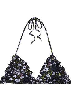Ganni Woman Ruffled Floral-print Triangle Bikini Top Black