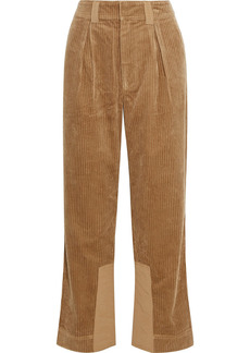 Ganni Woman Shell-paneled Cotton-corduroy Straight-leg Pants Sand