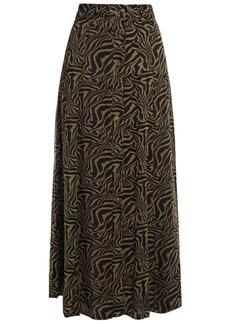 Ganni Woman Tiger-print Georgette Maxi Skirt Mushroom