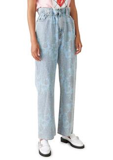 Ganni x Levi's® Floral Print Paperbag Waist Wide Leg Jeans