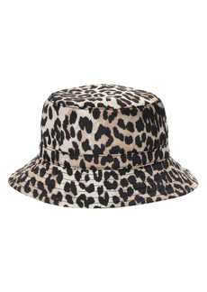 Ganni Leopard Print Recycled Tech Bucket Hat