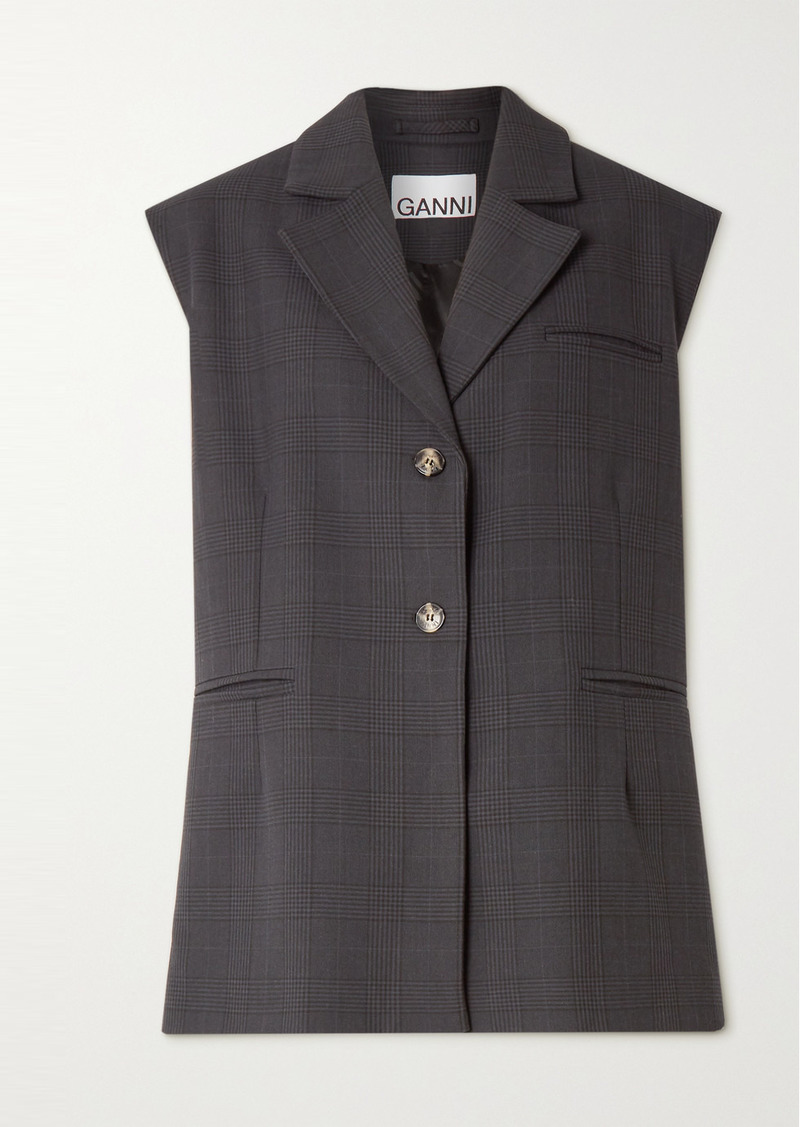 Ganni Oversized Prince Of Wales Checked Woven Vest