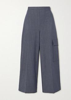 Ganni Pinstriped Twill Wide-leg Pants