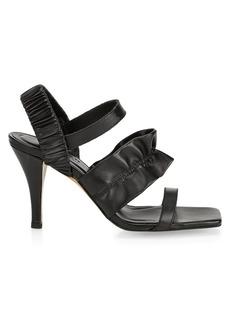 Ganni Ruffle Leather Slingback Sandals