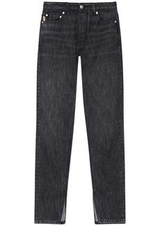 Ganni Washed Cotton Denim Straight Jeans