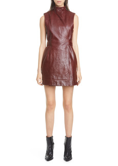Women's Ganni Wrap Front Leather Minidress