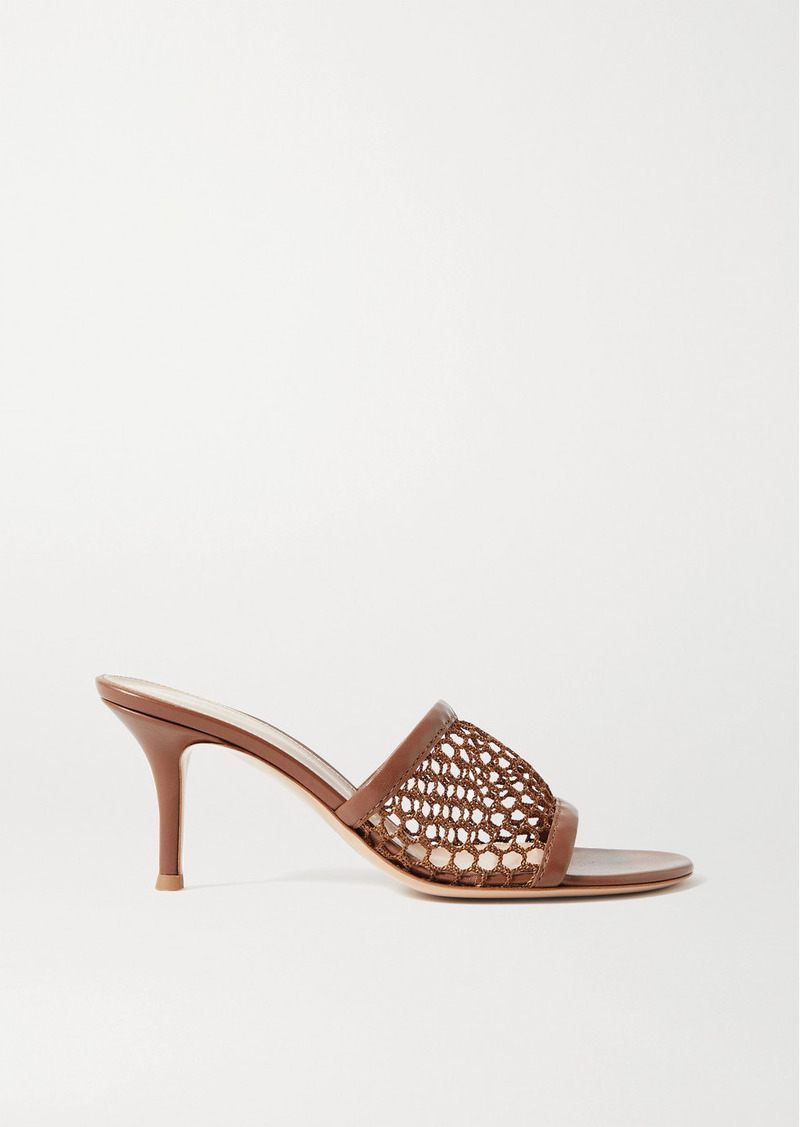 Gianvito Rossi 70 Leather-trimmed Fishnet Mules