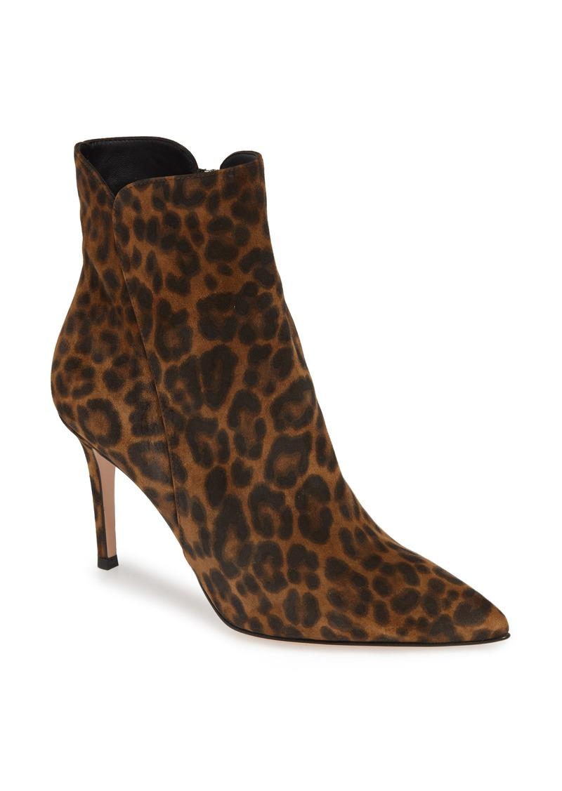 Gianvito Rossi Leopard Print Pointy Toe Bootie (Women)