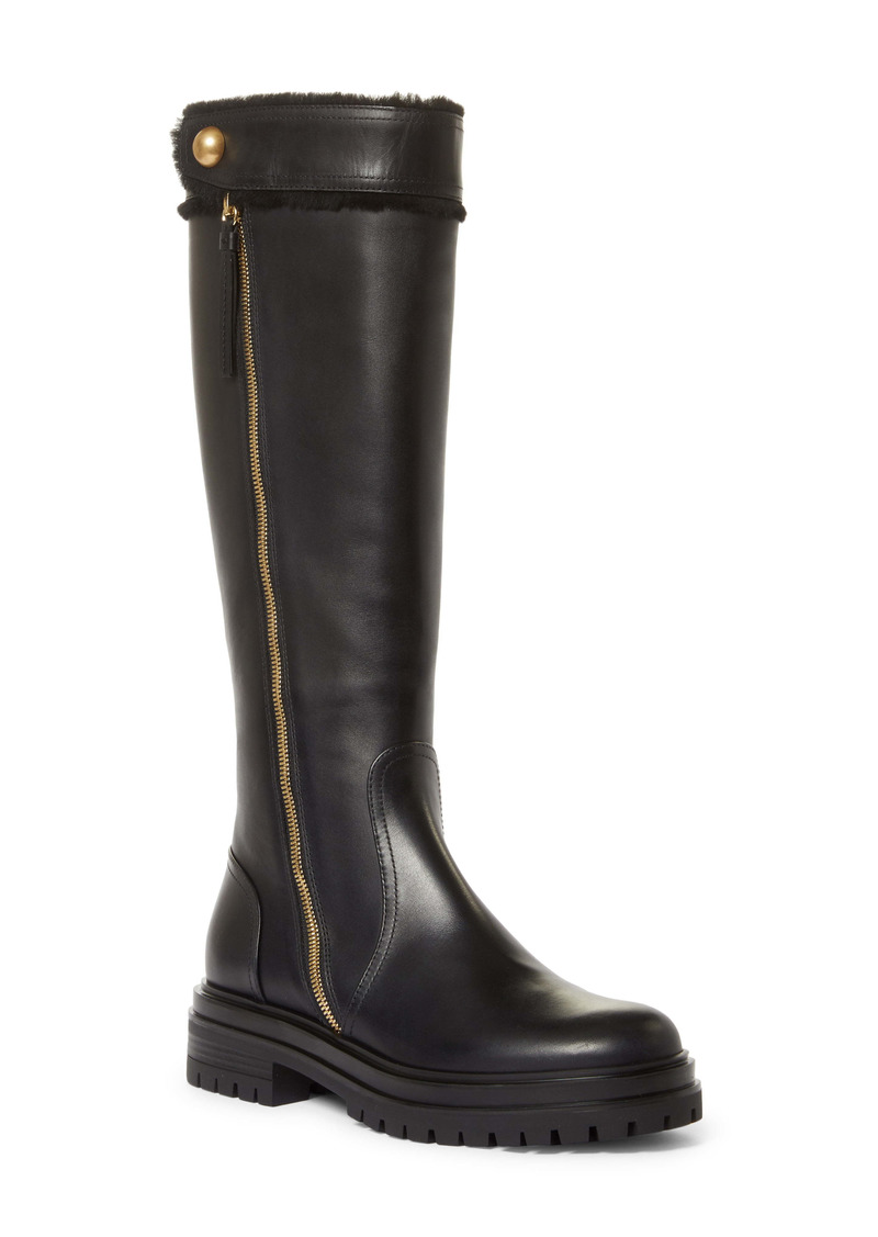 Gianvito Rossi Montreal Shearling Trim Knee High Boot (Women)