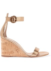 Gianvito Rossi Portofino 85 Metallic Leather Wedge Sandals
