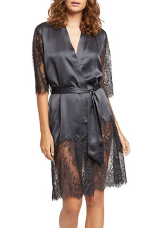 Ginia Blaise Lace Inset Silk Robe