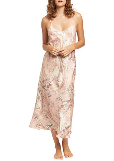 Ginia Marble Print Silk-Blend Nightgown