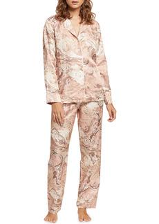 Ginia Marble Silk-Blend Pajama Set