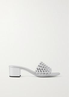 Giuseppe Zanotti Crystal-embellished Pvc And Metallic Leather Mules
