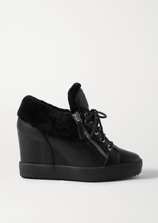 Giuseppe Zanotti Shearling-trimmed Textured-leather Wedge Ankle Boots