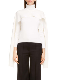 Givenchy Cape Layer Ribbed Turtleneck Sweater