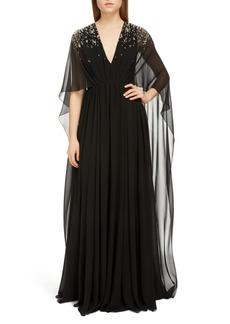 Givenchy Crystal Degradé Cape Sleeve Silk Gown