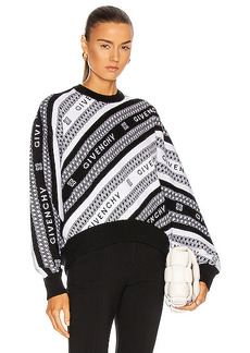 Givenchy Graphic Chain Logo Crew Neck Sweater