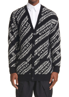 Givenchy Intarsia Logo & Chain Link Wool Blend Cardigan