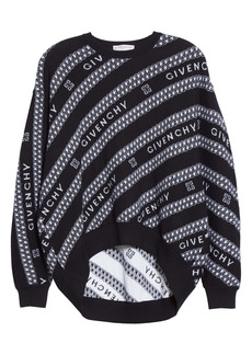 Givenchy Intarsia Logo & Chain Link Wool Sweater