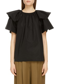 Givenchy Layered Flutter Sleeve Cotton Top