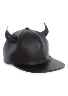 Givenchy Leather Baseball Cap with Horns