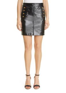 Givenchy Logo Button Leather Miniskirt