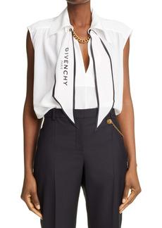 Givenchy Logo Scarf Neck Silk Blouse