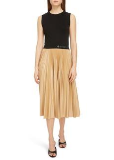 Givenchy Logo Waist Pleated Midi Dress