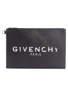 Givenchy Medium Iconic Logo Print Coated Canvas Pouch