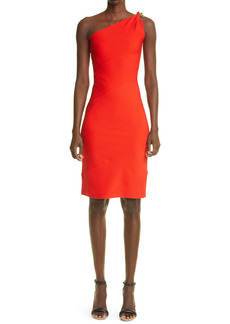 Givenchy One-Shoulder Punto Milano Dress with Chain