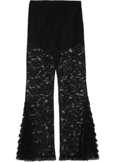 Givenchy Woman Cotton-blend Corded Lace Flared Pants Black