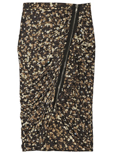Givenchy Woman Crystal-embellished Zip-detailed Ruched Printed Jersey Pencil Skirt Gold