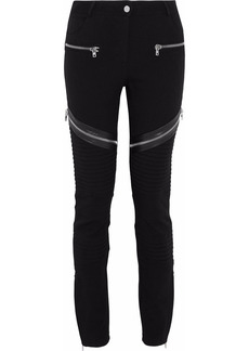 Givenchy Woman Zip-embellished Ribbed Ponte Slim-leg Pants Black