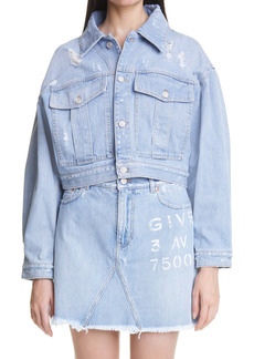 Givenchy Women's Back Logo Destroyed Crop Denim Jacket