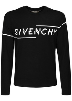 Givenchy Split Logo Intarsia Wool Knit Sweater