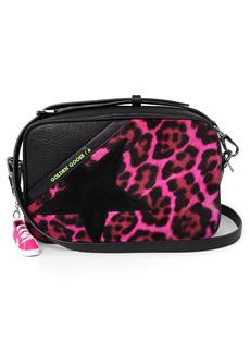 Golden Goose Star Leopard Print Genuine Calf Hair & Leather Camera Bag