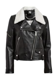 Golden Goose Hanna Shearling-Trimmed Moto Jacket