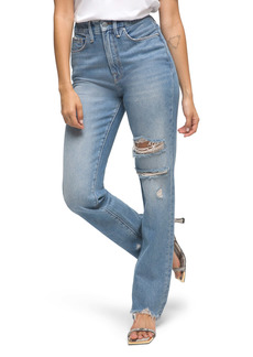 Good American Good Boy Ripped Chewed Hem Boyfriend Jeans (Blue 536) (Regular & Plus Size)