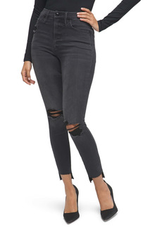 Good American Good High Waist Crop Skinny Jeans (Black 127) (Regular & Plus Size)
