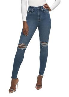 Good American Good Waist Crop Raw Edge Skinny Jeans (Regular & Plus Size)