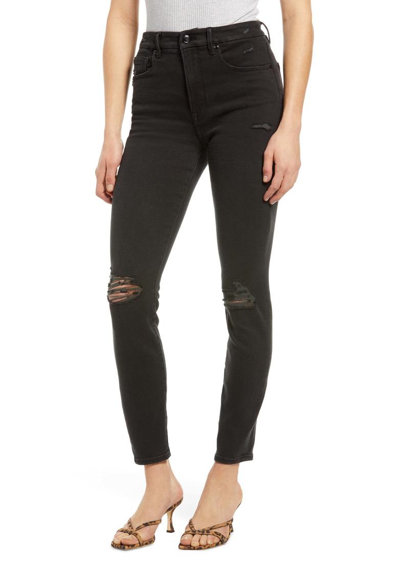 Good American Good Waist Distressed High Waist Ankle Skinny Jeans (Black 138)
