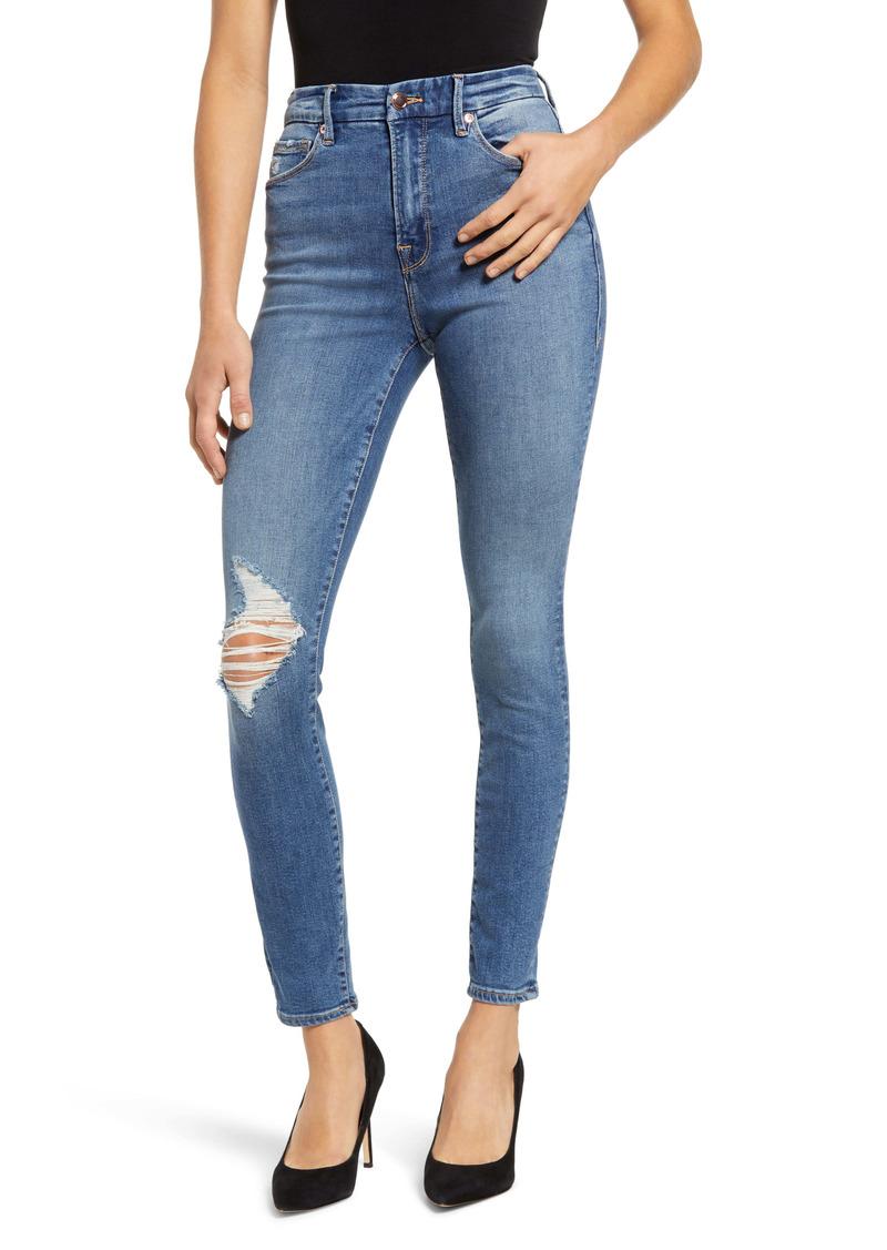 Good American Good Waist High Waist Ankle Skinny Jeans (Blue) (Regular & Plus Size)