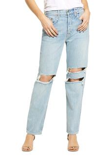 GRLFRND Isabeli Ripped High Waist Organic Cotton Straight Leg Jeans (Wish You Would)